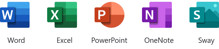 Word, Excel, PowerPoint, OneNote, Sway