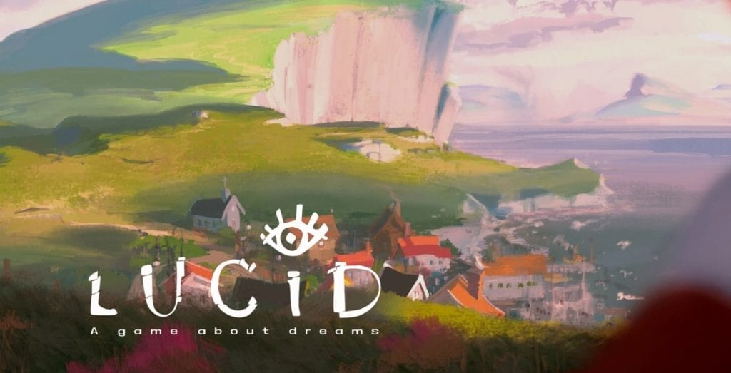 Cliff with city and ocean with the title lucid - a game about dreams